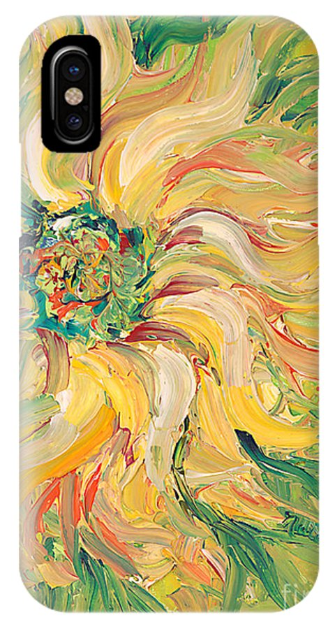 Texture IPhone Case featuring the painting Textured Green Sunflower by Nadine Rippelmeyer