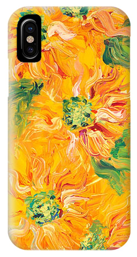 Yellow IPhone X Case featuring the painting Textured Yellow Sunflowers by Nadine Rippelmeyer