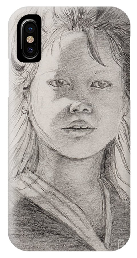 Portrait IPhone X Case featuring the drawing Thai Beauty by Nadine Rippelmeyer
