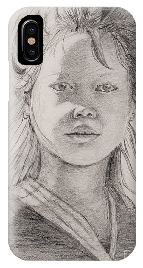 Portrait IPhone X / XS Case featuring the drawing Thai Beauty by Nadine Rippelmeyer