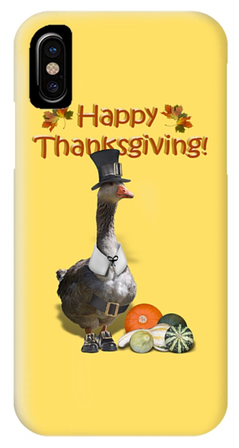 Thanksgiving IPhone X Case featuring the mixed media Thanksgiving Pilgrim Goose by Gravityx9 Designs