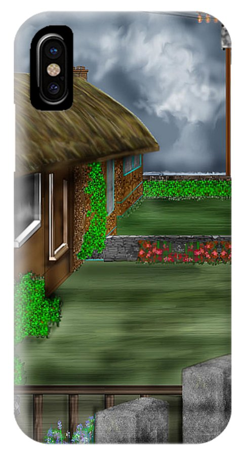 Cottages IPhone X Case featuring the painting Thatched Roof Cottages In Ireland by Anne Norskog