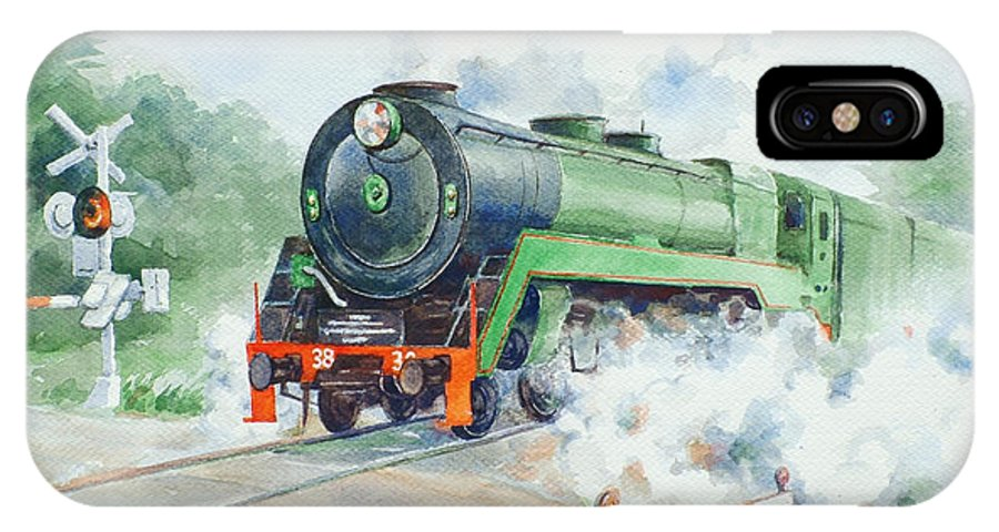 Watercolor IPhone X Case featuring the painting The 3830 At Robertson by Ekaterina Mortensen