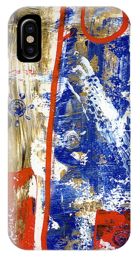Abstract IPhone X Case featuring the painting The 4th by Wayne Potrafka