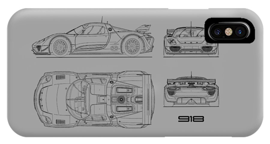 The 918 spyder blueprint white iphone x xs case for sale by mark porsche iphone x xs case featuring the photograph the 918 spyder blueprint white by malvernweather Choice Image