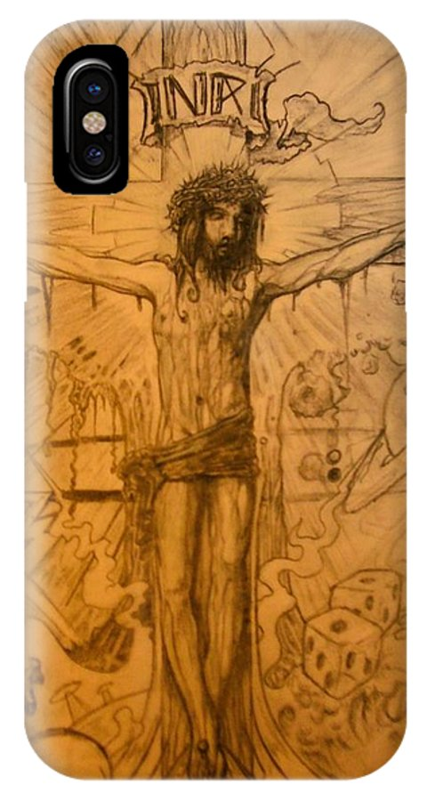 Jesus IPhone Case featuring the drawing The Ace Of Hearts by Will Le Beouf