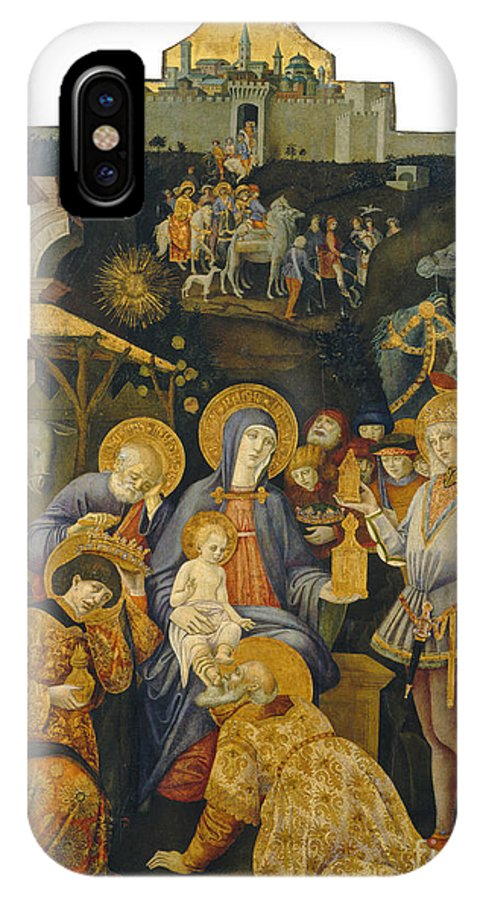 IPhone X Case featuring the painting The Adoration Of The Magi by Benvenuto Di Giovanni