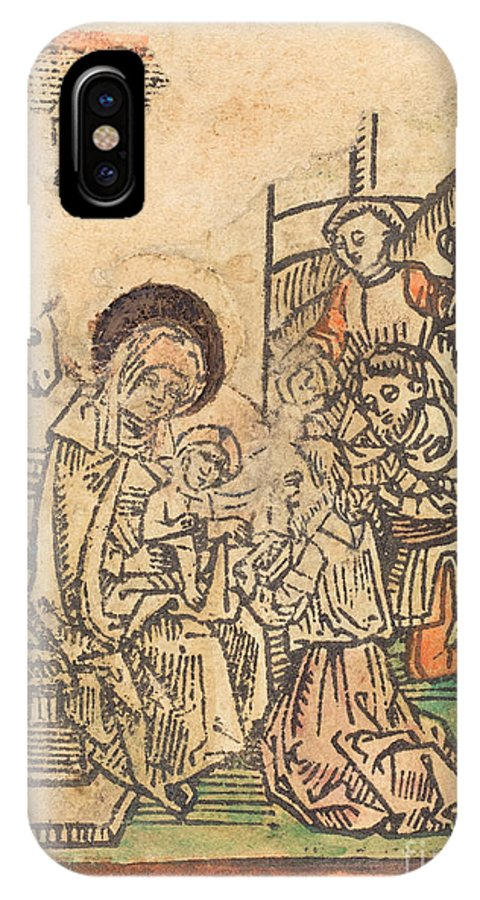 IPhone X Case featuring the drawing The Adoration Of The Magi by German 15th Century