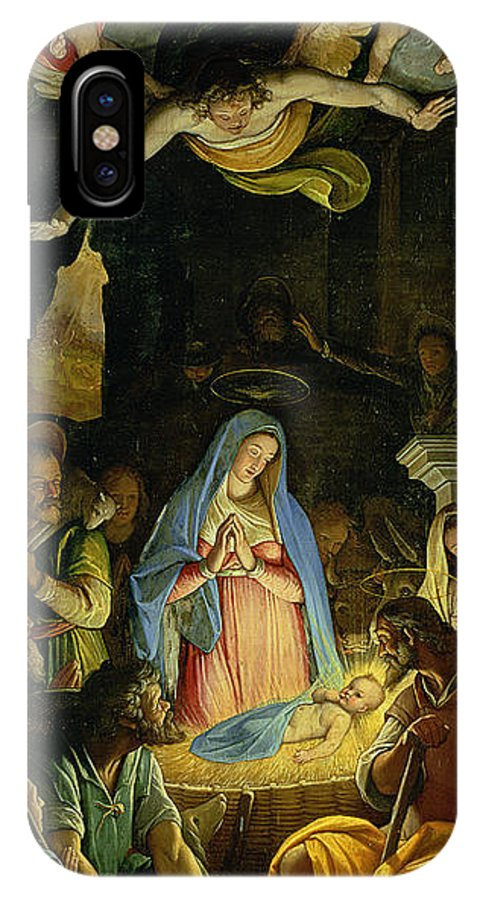 Christmas IPhone X / XS Case featuring the painting The Adoration Of The Shepherds by Federico Zuccaro
