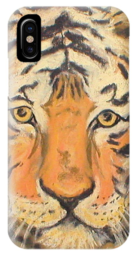 Pastel IPhone X Case featuring the drawing The Amber Stare by Cori Solomon