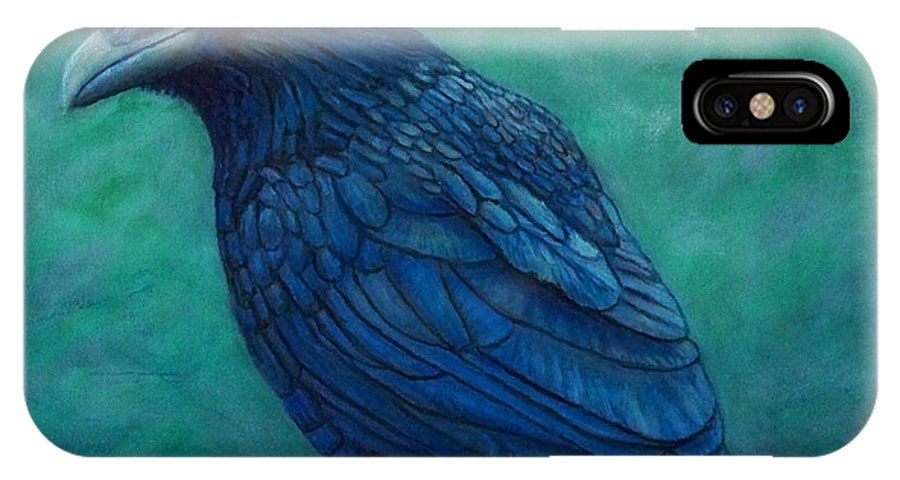 Raven IPhone X Case featuring the painting The Ancient One by Brian Commerford
