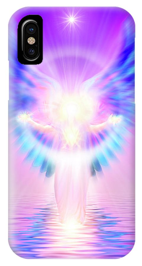 Endre IPhone X Case featuring the digital art The Angel Of Divine Protection by Endre Balogh