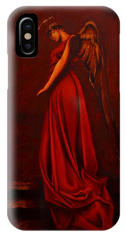 Giorgio IPhone X Case featuring the painting The Angel Of Love by Giorgio Tuscani