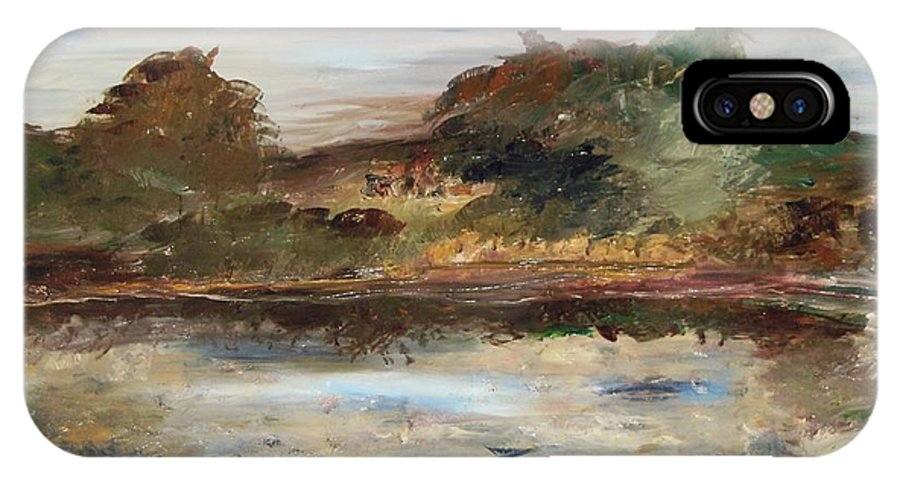 Landscape IPhone X Case featuring the painting The Angels Camp Frog Pond by Edward Wolverton