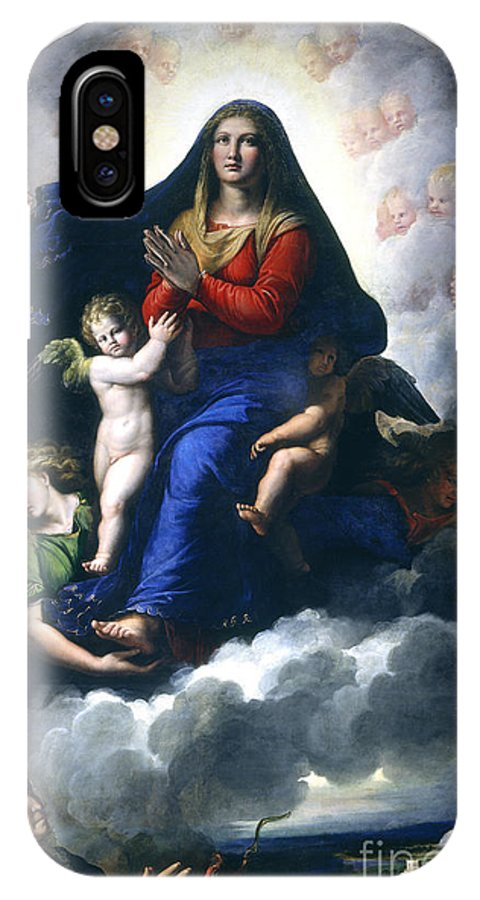 IPhone X Case featuring the painting The Apparition Of The Virgin by Girolamo Da Carpi