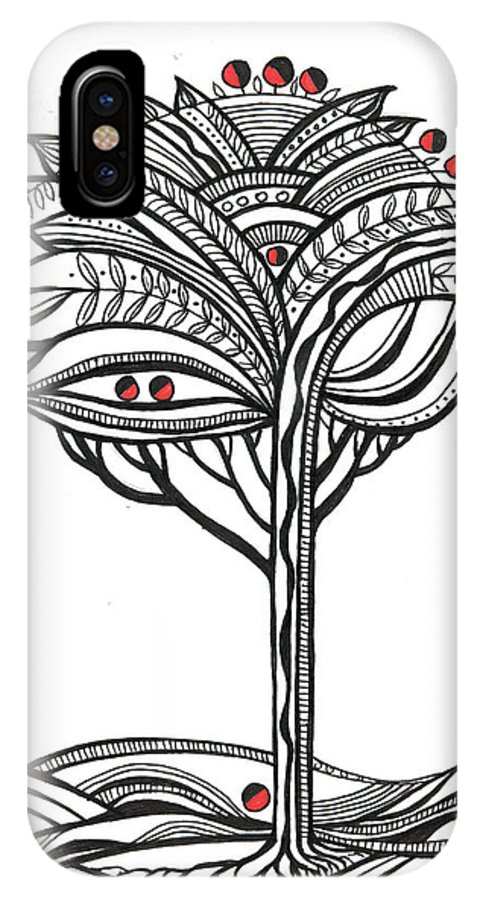 Abstract IPhone X Case featuring the drawing The Apple Tree by Aniko Hencz