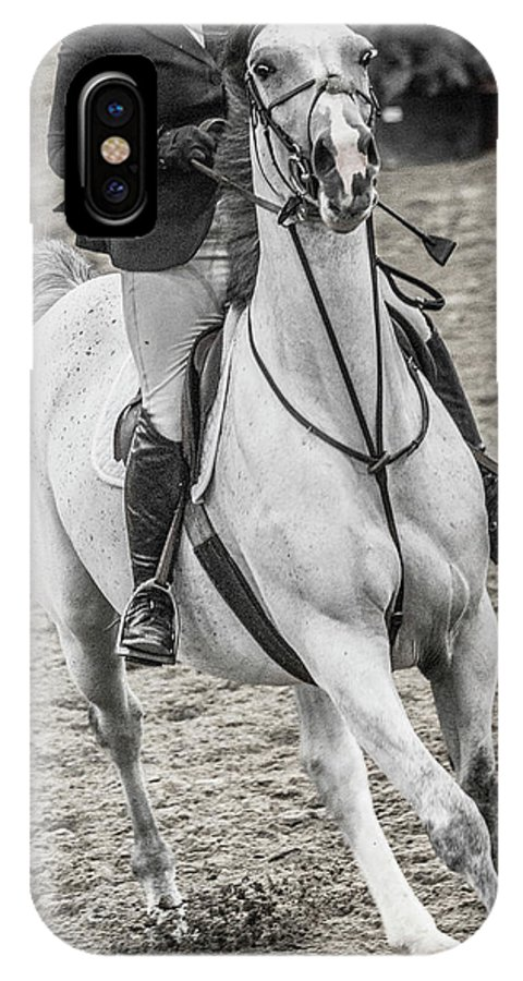 Horse IPhone X Case featuring the photograph The Approach Show Jumping by Betsy Knapp