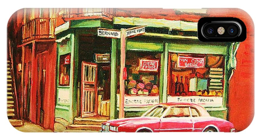 Montreal IPhone X Case featuring the painting The Arcadia Five And Dime Store by Carole Spandau