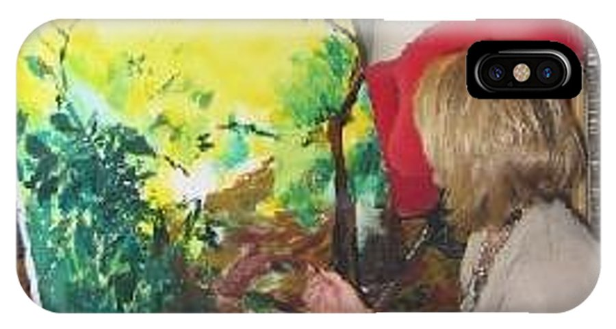 Artist. Lizzy Forrester. Ibiza. Spain. Sunlight. Bright & Colourful. IPhone X Case featuring the painting The Artist At Work. by Lizzy Forrester