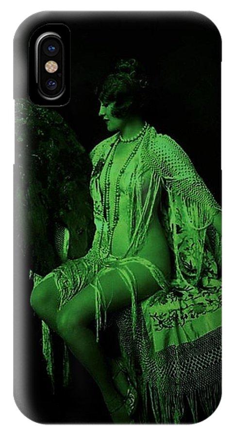 Green IPhone X Case featuring the digital art The Artist's Fairie by Daniel Hart