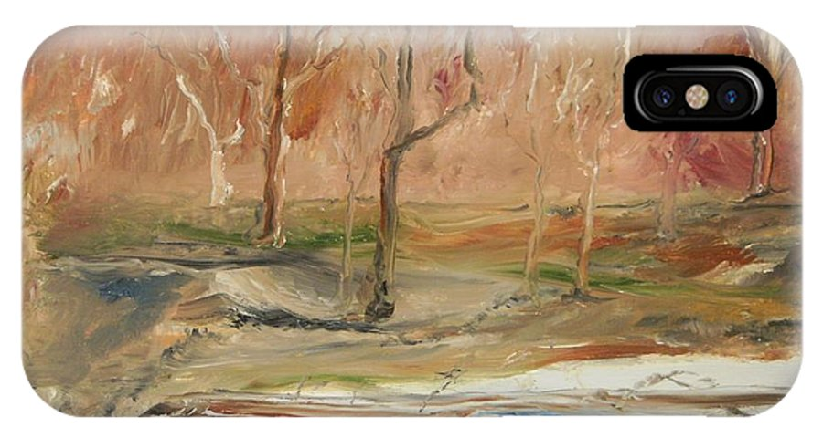 Landscape IPhone X Case featuring the painting The Back Field Creek by Edward Wolverton