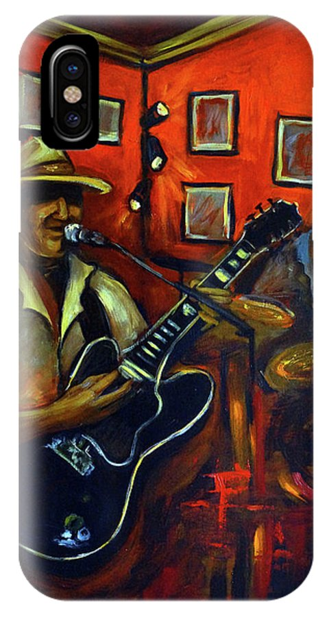 Blues IPhone X Case featuring the painting The Back Room by Valerie Vescovi