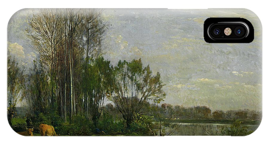 Animal IPhone X Case featuring the painting The Banks Of The Oise by Charles-Francois Daubigny