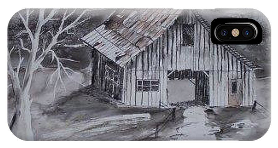 Watercolor Landscape Painting Barn Pen And Ink Painting Drawing IPhone X Case featuring the painting The Barn Country Pen And Ink Drawing by Derek Mccrea