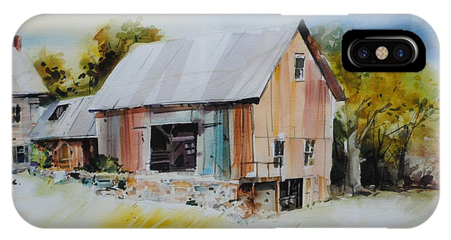 Vermont Barns IPhone X Case featuring the painting The Barn Entrance by P Anthony Visco