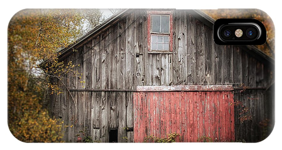 Barn IPhone X Case featuring the photograph The Barn With The Red Door by Lisa Russo