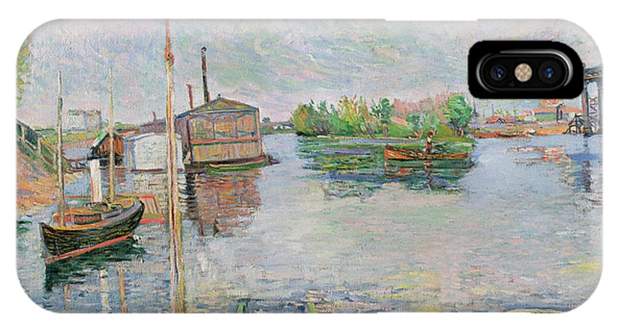 The IPhone X Case featuring the painting The Bateau Lavoir At Asnieres by Paul Signac