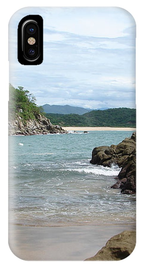 Sand Ocean Sky Blue Rocks Trees IPhone Case featuring the photograph The Beach 1 by Luciana Seymour