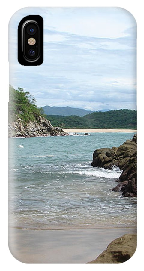 Sand Ocean Sky Blue Rocks Trees IPhone X / XS Case featuring the photograph The Beach 1 by Luciana Seymour