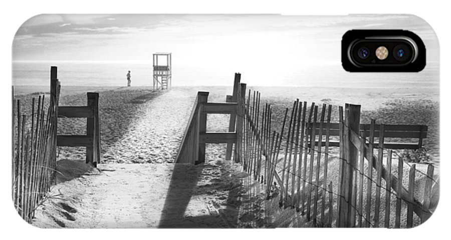 The Beach IPhone X Case featuring the photograph The Beach In Black And White by Dapixara Art