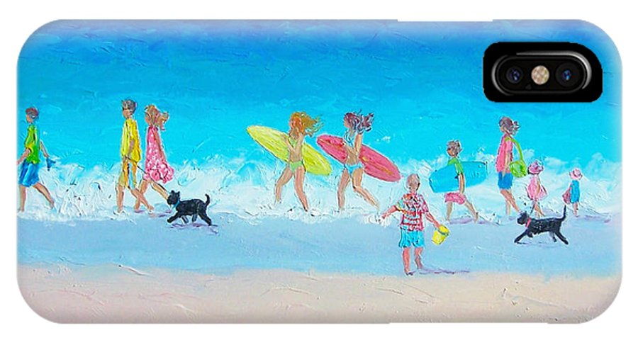 Beach IPhone X Case featuring the painting The Beach Parade by Jan Matson