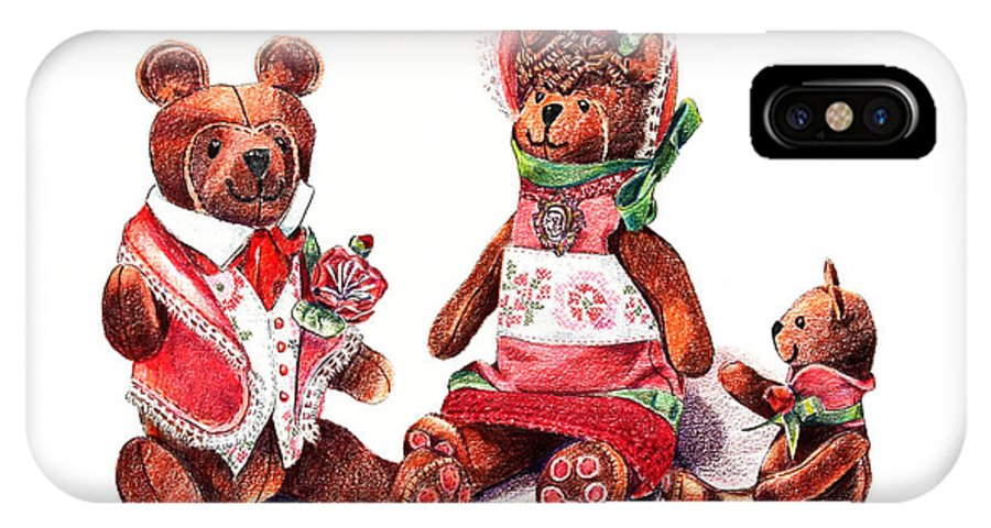 Teddy Bear IPhone Case featuring the drawing The Bear Family by Arline Wagner