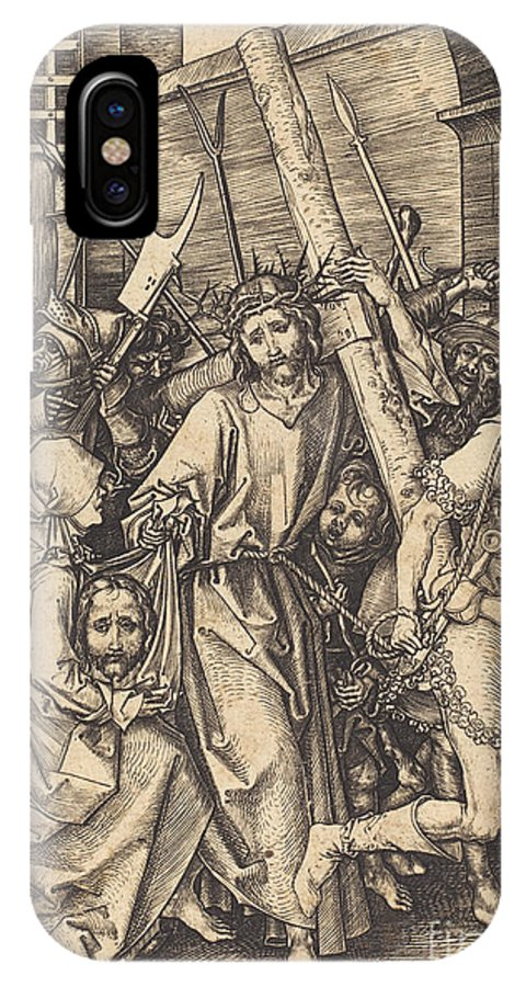 IPhone X Case featuring the drawing The Bearing Of The Cross With Saint Veronica by Martin Schongauer