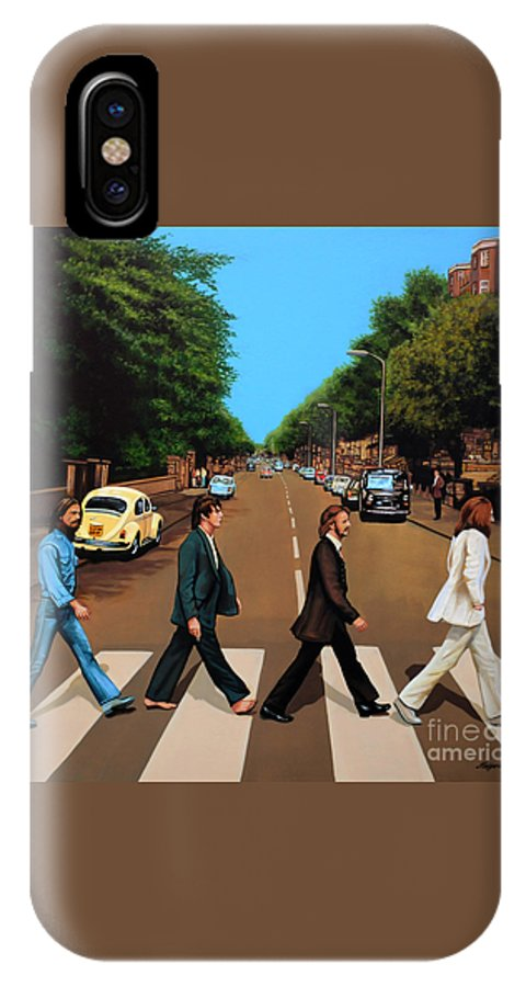 The Beatles IPhone X Case featuring the painting The Beatles Abbey Road by Paul Meijering