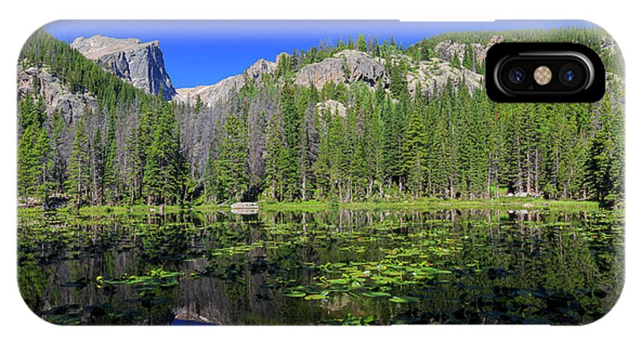 Colorado IPhone X Case featuring the photograph The Beautiful Nymph Lake With Reflection And Clear Water by Chon Kit Leong