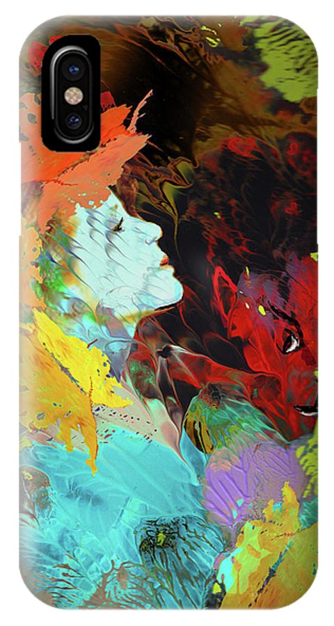 Love IPhone X Case featuring the painting The Beauty and The Beast by Miki De Goodaboom