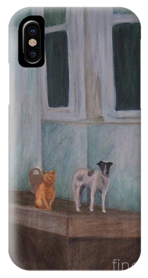 Cat IPhone Case featuring the painting The Beginning by Emily Young