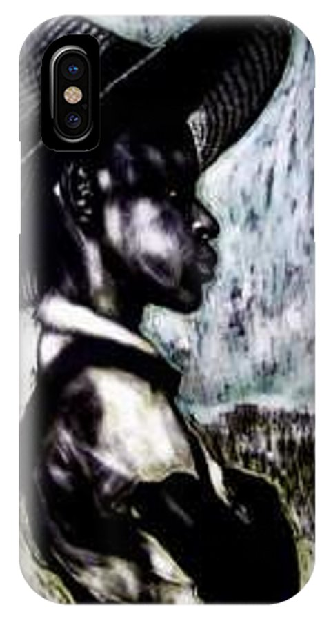 Portrait IPhone X Case featuring the mixed media The Berry Picker by Chester Elmore