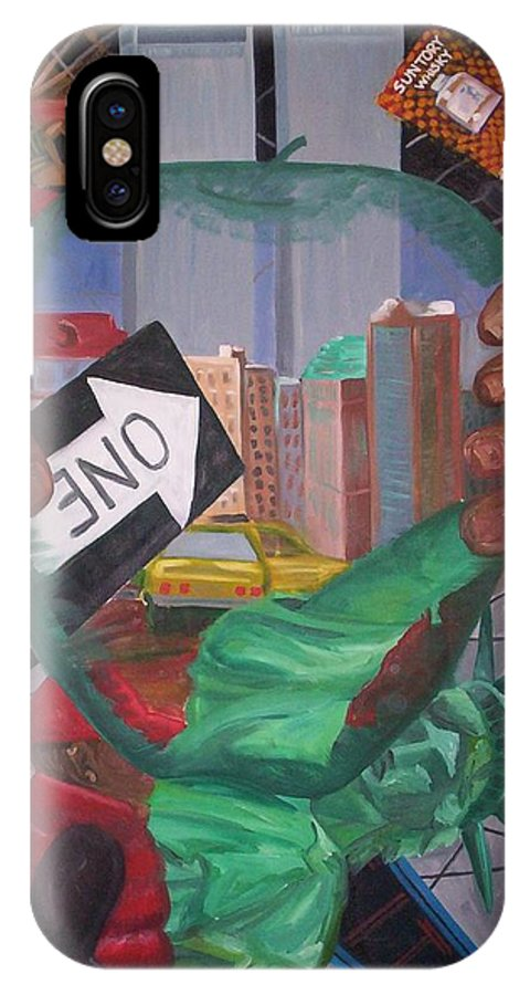 New York IPhone X Case featuring the painting The Big Apple by Lauren Luna