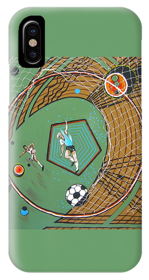 Abstract Sports IPhone X Case featuring the painting The Big Kick by V Boge