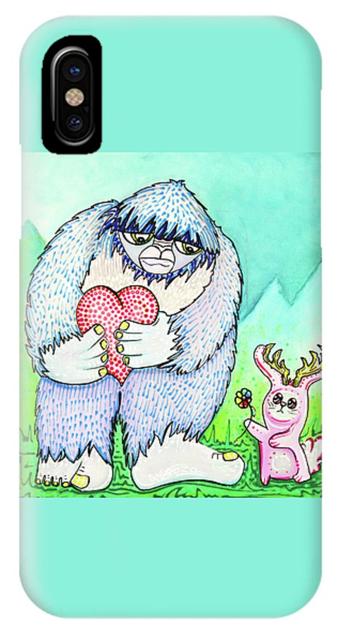 Abominable-snowman IPhone X Case featuring the painting The Bigfoot and The Jackalope by Laura Barbosa