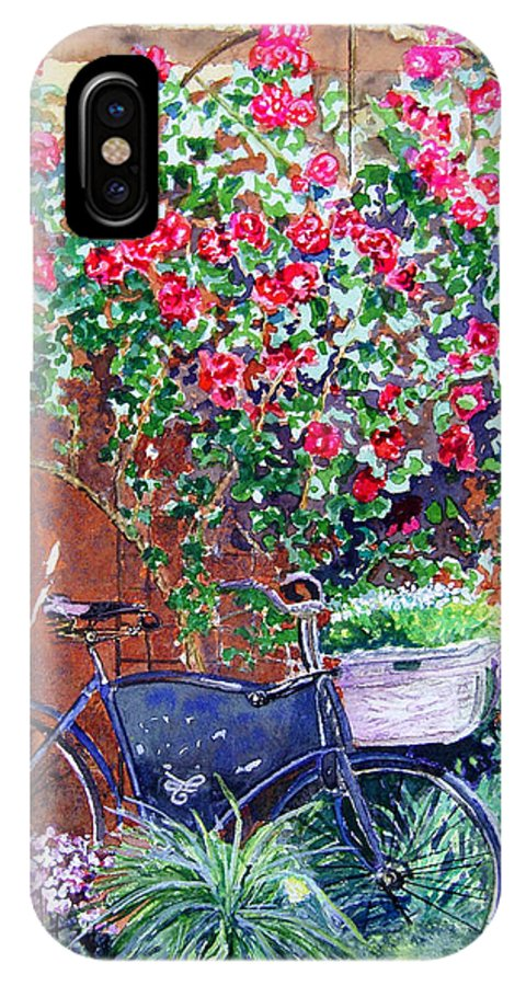 Bike IPhone X Case featuring the painting The Bike At Bistro Jeanty Napa Valley by Gail Chandler
