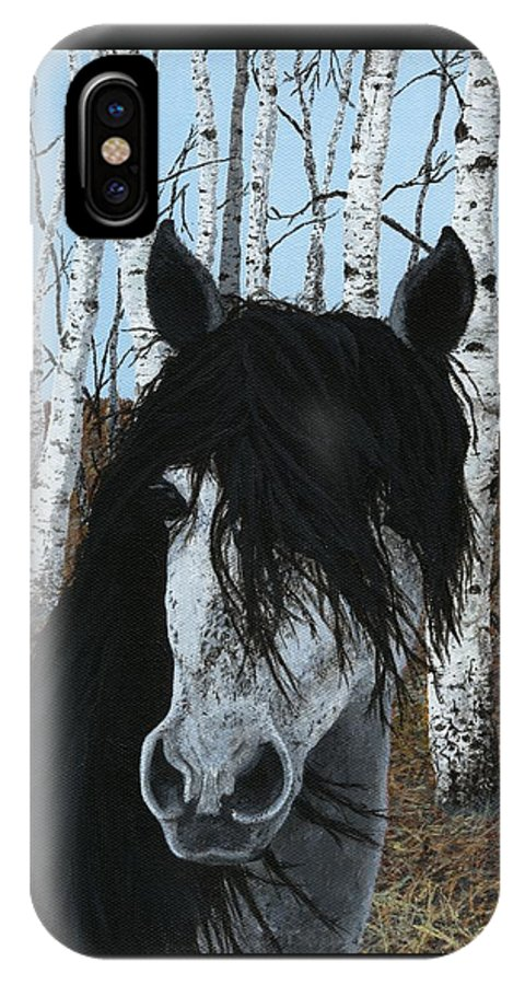 Horse IPhone X Case featuring the painting The Birch Horse by Jennifer Nilsson