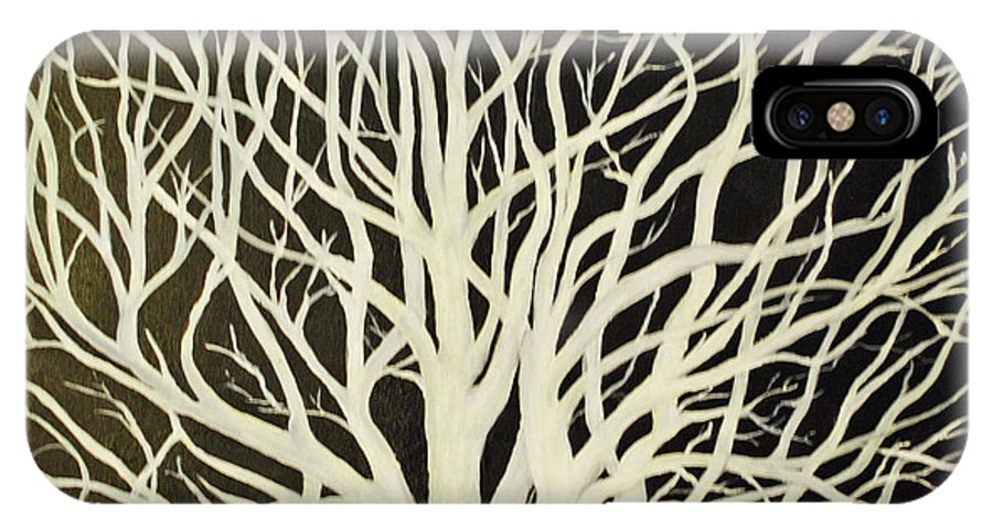 White IPhone X Case featuring the painting The Birch Tree by Carolyn Shireman