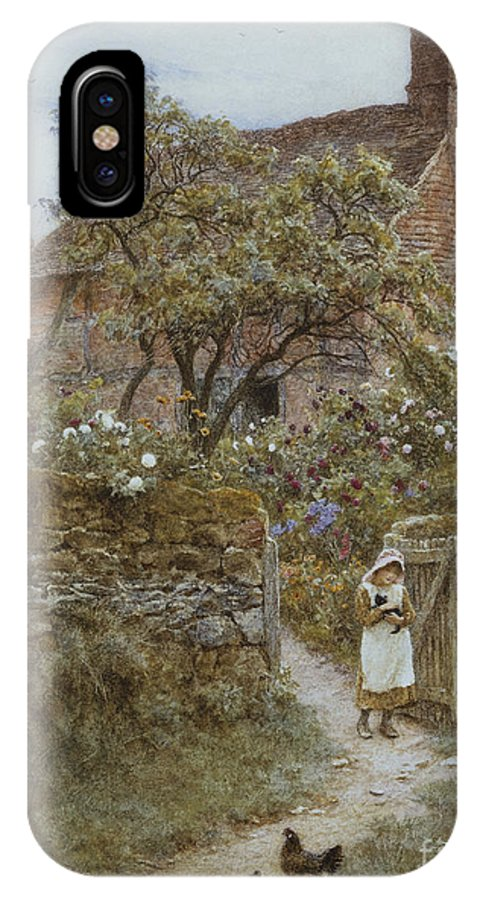 English; Landscape; Cottage; Rural; C19th; C20th; Country; Lane; Path; Child; Girl; Female; Victorian; Gateway IPhone X Case featuring the painting The Black Kitten by Helen Allingham