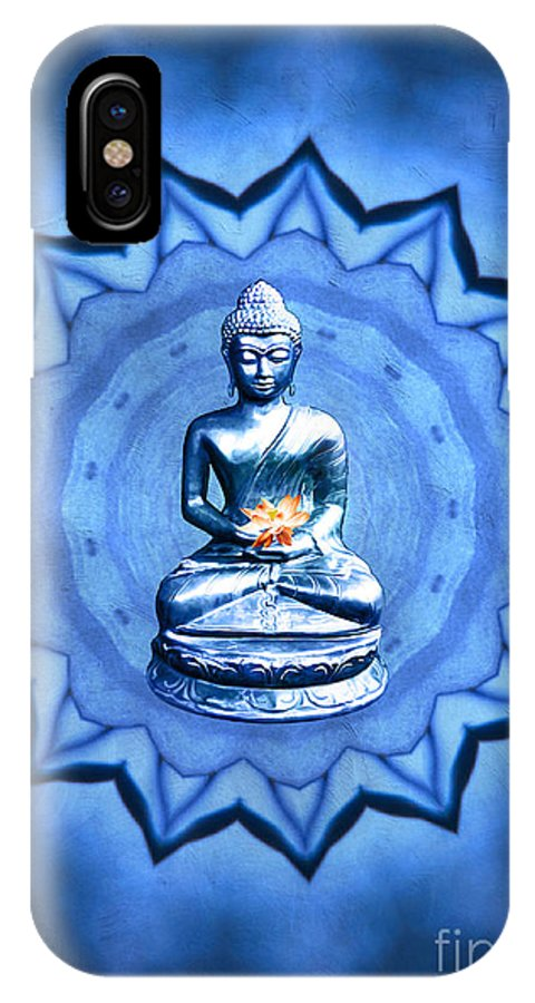 Gabriele Pomykaj IPhone X Case featuring the digital art The Blue Buddha Meditation by Gabriele Pomykaj